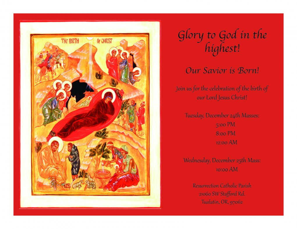 Join us for Christmas Mass to celebrate the birth of our Lord Jesus Christ!